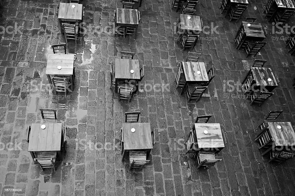 empty wooden tables at traditional inn of turkey royalty-free stock photo