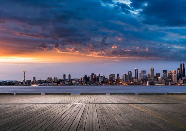 leere hölzerne Aussichtsplattform, Seattle – Foto