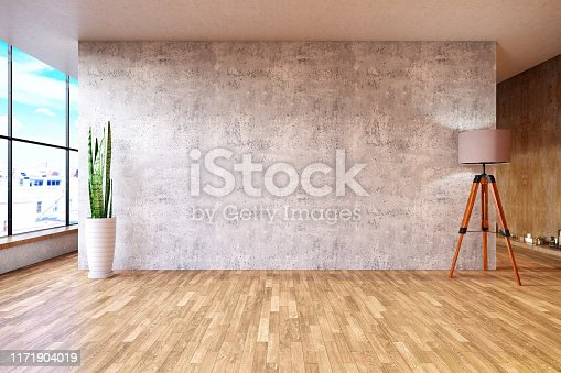Empty wooden wall panel with vase and plant