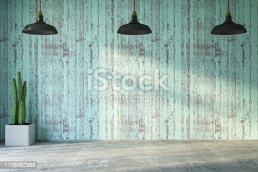 Empty Wooden Wall with Lights and Plant