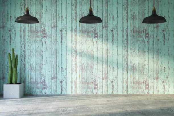 mur de bois vide avec des lumières et des plantes - mur bois photos et images de collection