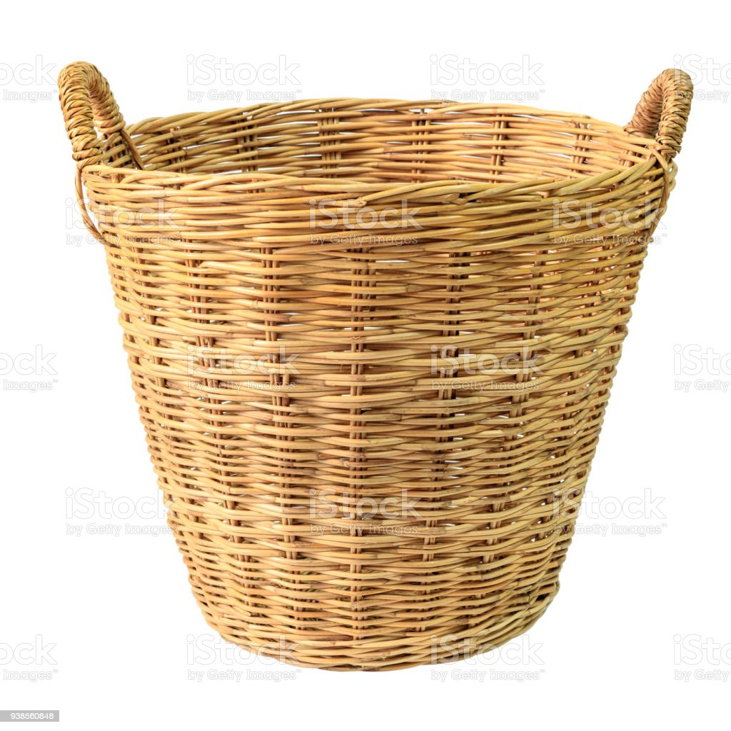 Empty wooden wicker basket isolated on white background. royalty-free stock photo
