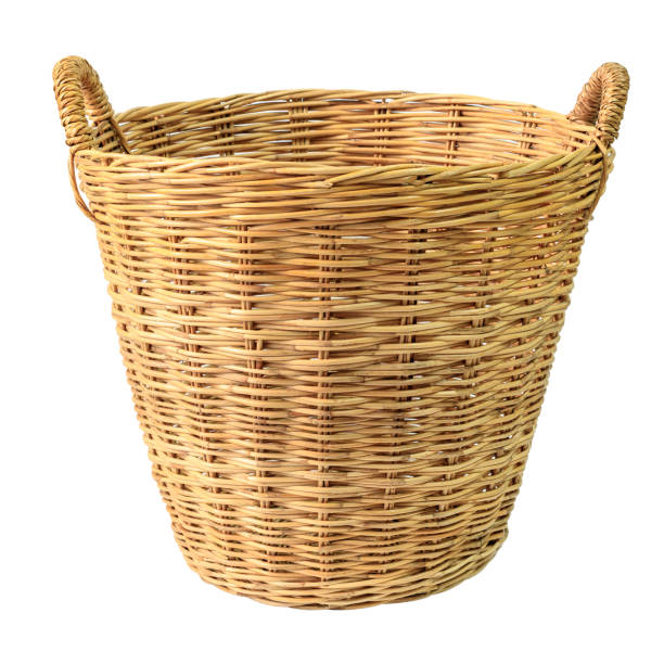Empty wooden wicker basket isolated on white background. Empty wooden wicker basket isolated on white background. wicker stock pictures, royalty-free photos & images