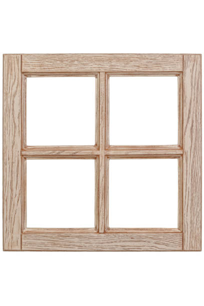 Empty wooden windows frame – zdjęcie