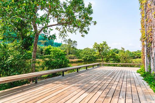 Empty wooden Wooden platform and rural scene