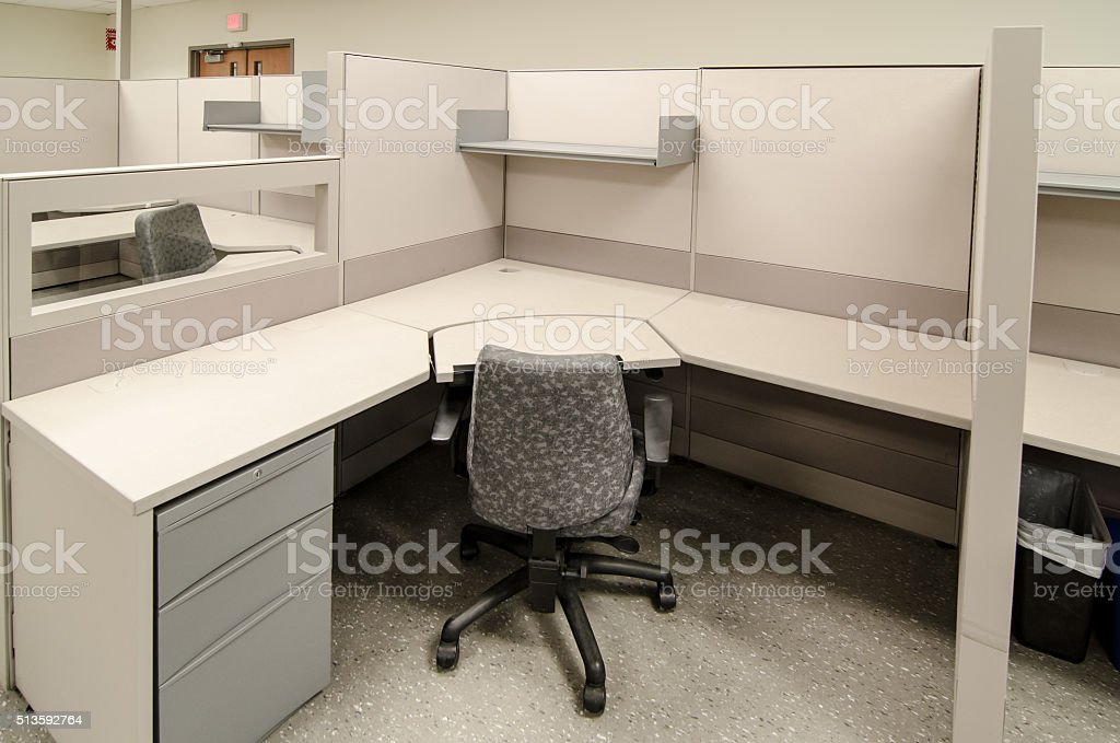 desk furniture office place of work table empty work office cubicles color beige royaltyfree stock photo