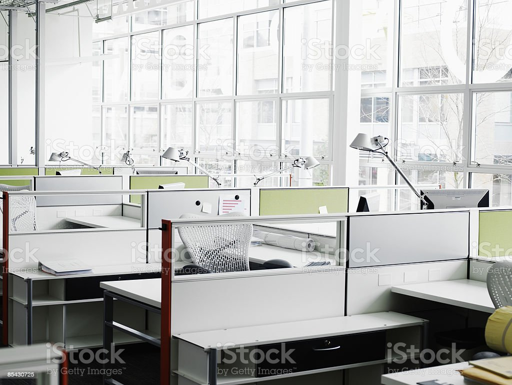 Empty workstations in office royalty-free stock photo
