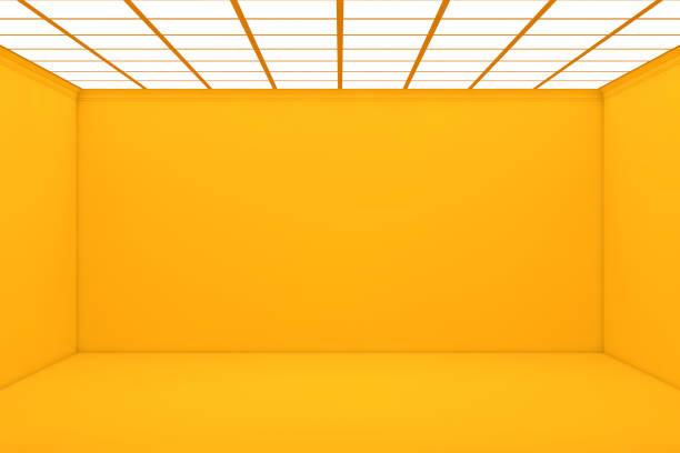 sala 3d amarillo vacía - amarillo color fotografías e imágenes de stock