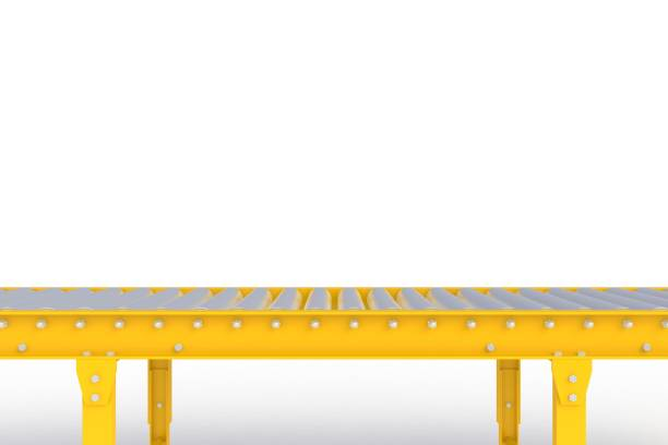 empty yellow conveyor line isolated on a white background, delivery concept, for product display, 3d rendering - conveyor belt stock photos and pictures