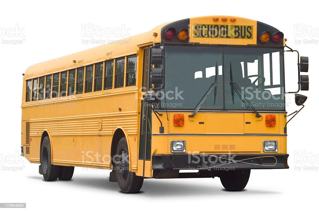 Empty yellow school bus isolated on white stock photo