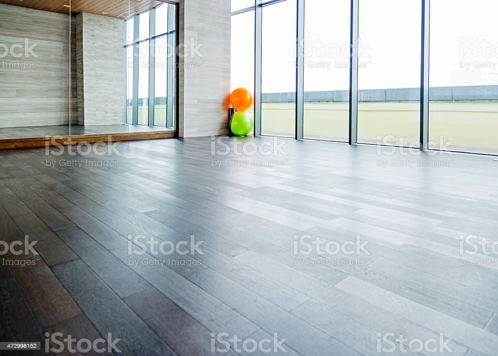 Empty yoga classroom stock photo