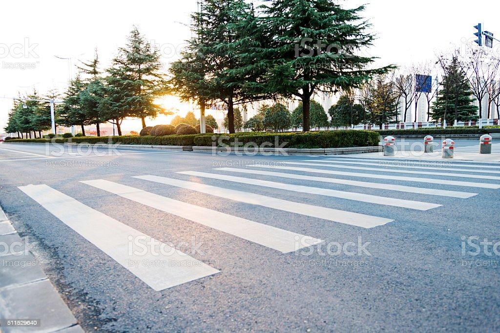 Empty zebra crossing stock photo
