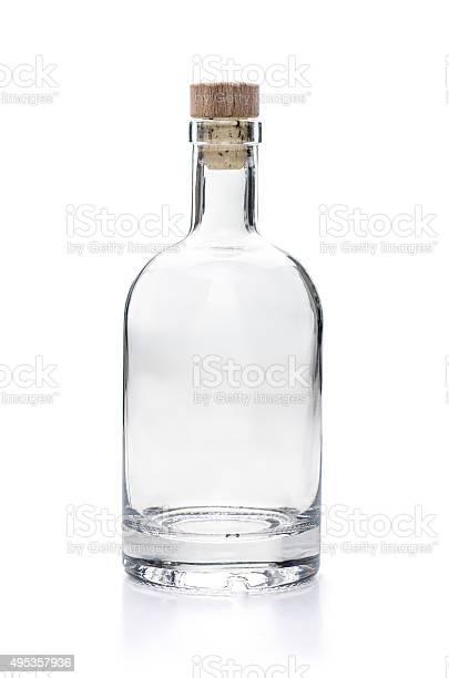 empy liquor bottle on a white background