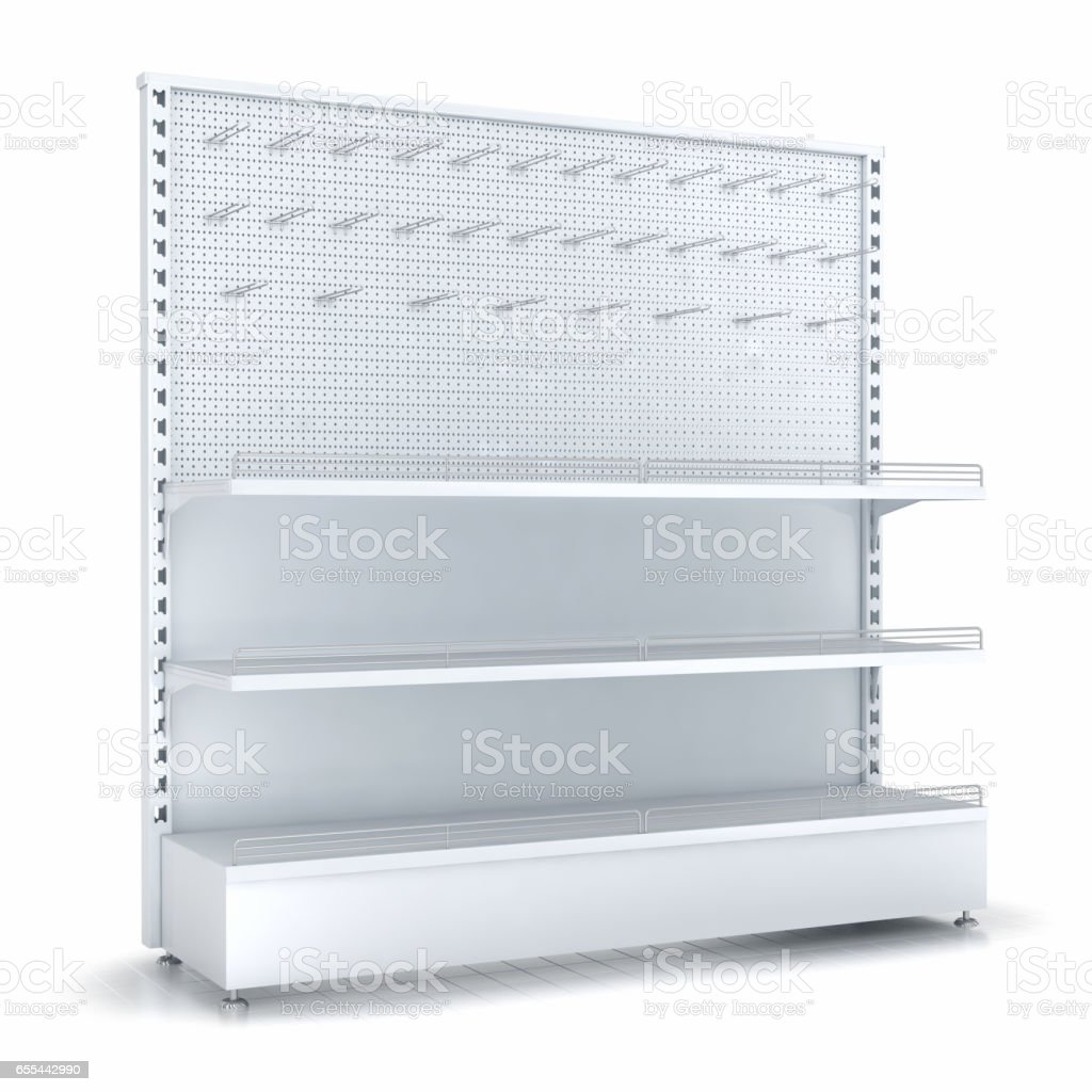 Empy shelves and pegboard stock photo