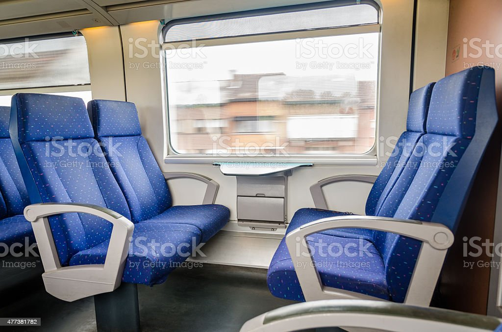 Emtpy interior of the train for long and short distance stock photo