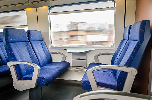 emtpy interior of the train for long and short distance - järnvägsvagn tåg bildbanksfoton och bilder