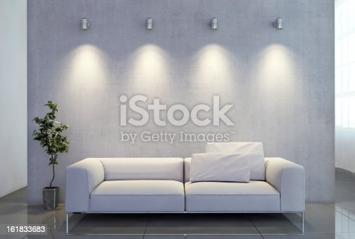 istock Emty wall with light and a sofa 161833683