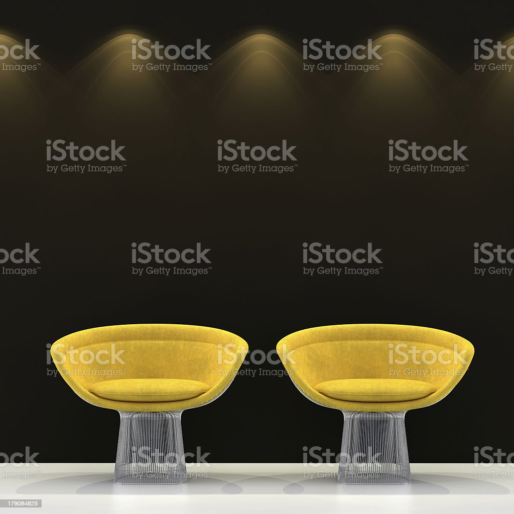 Emty wall with light and two chairs royalty-free stock photo