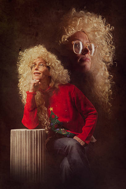 emulated vintage christmas portrait photograph - 1990s style stock photos and pictures