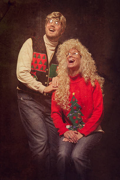 emulated vintage christmas portrait photograph - 1980s style stock photos and pictures