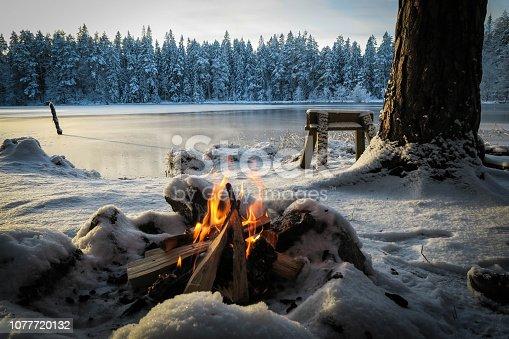 En eld som brinner i en eldstad av stenar på marken, utsikt över en isig sjö.