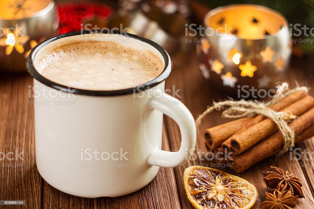 Enamel cup of hot cocoa with mini marshmallows stock photo