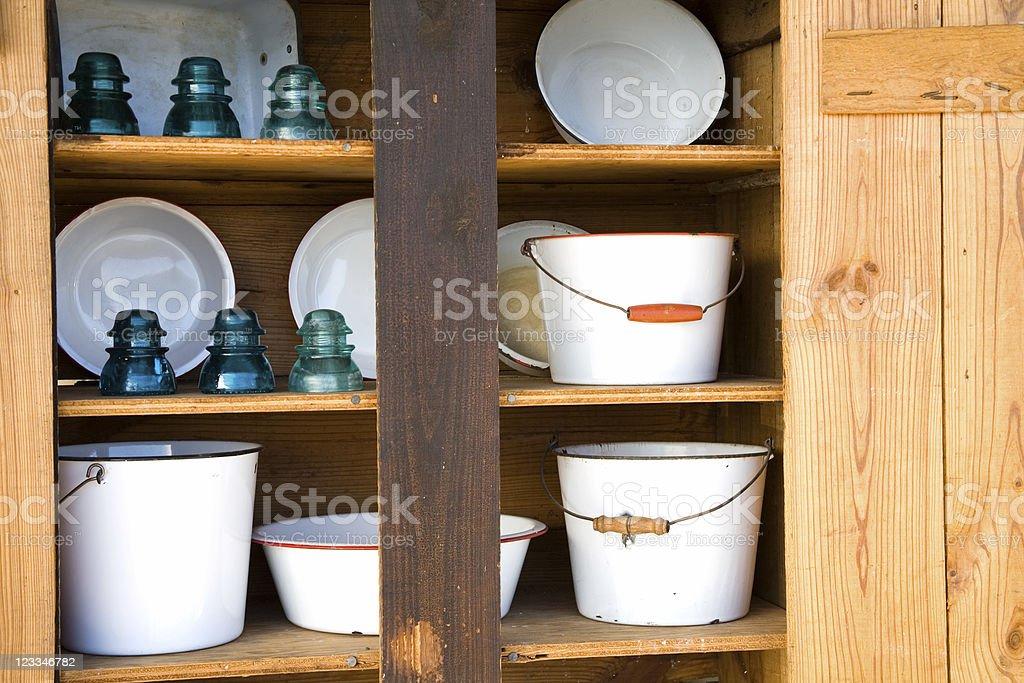 Enamel pots and pans stock photo