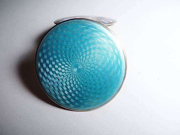 enamel powder compact sterling silver luxury blue - guilloche stock photos and pictures