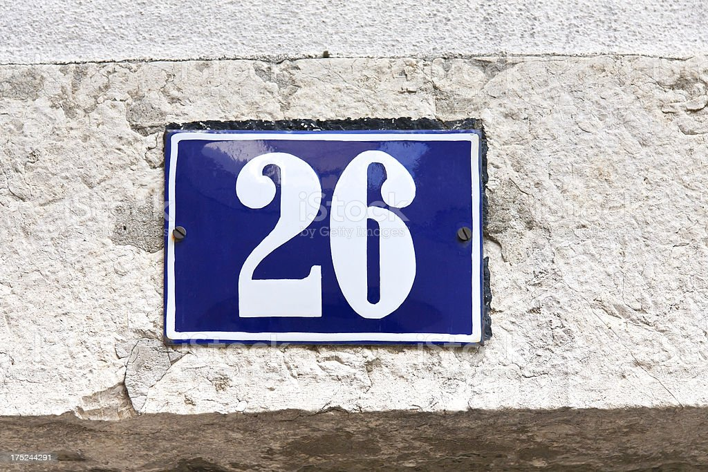 Enamel Sign Number 26 royalty-free stock photo