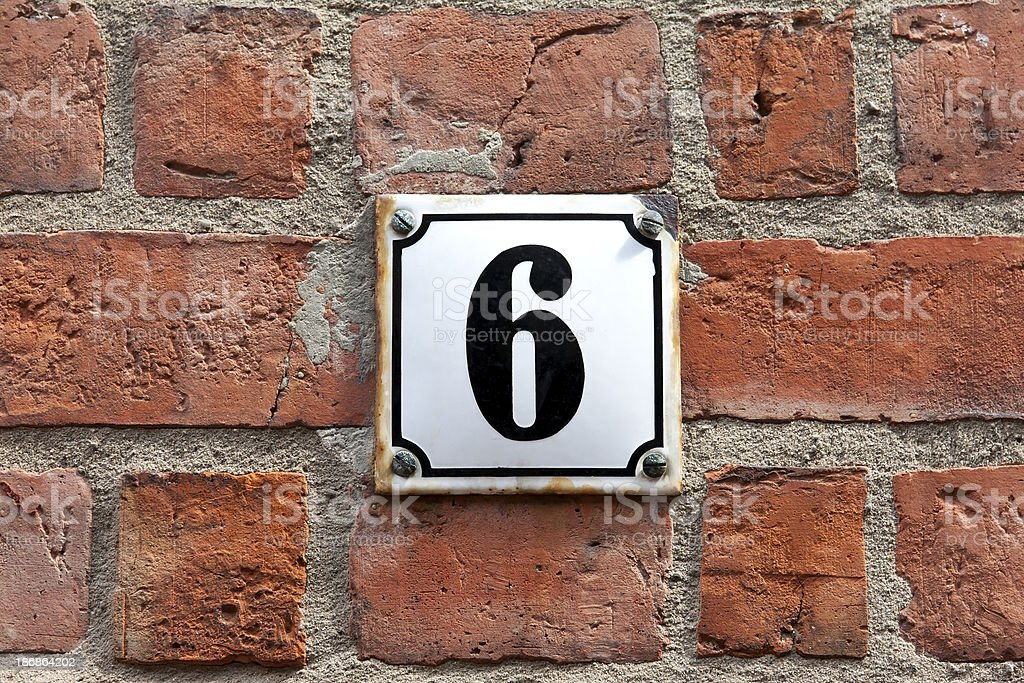 Enamel Sign Number 6 royalty-free stock photo