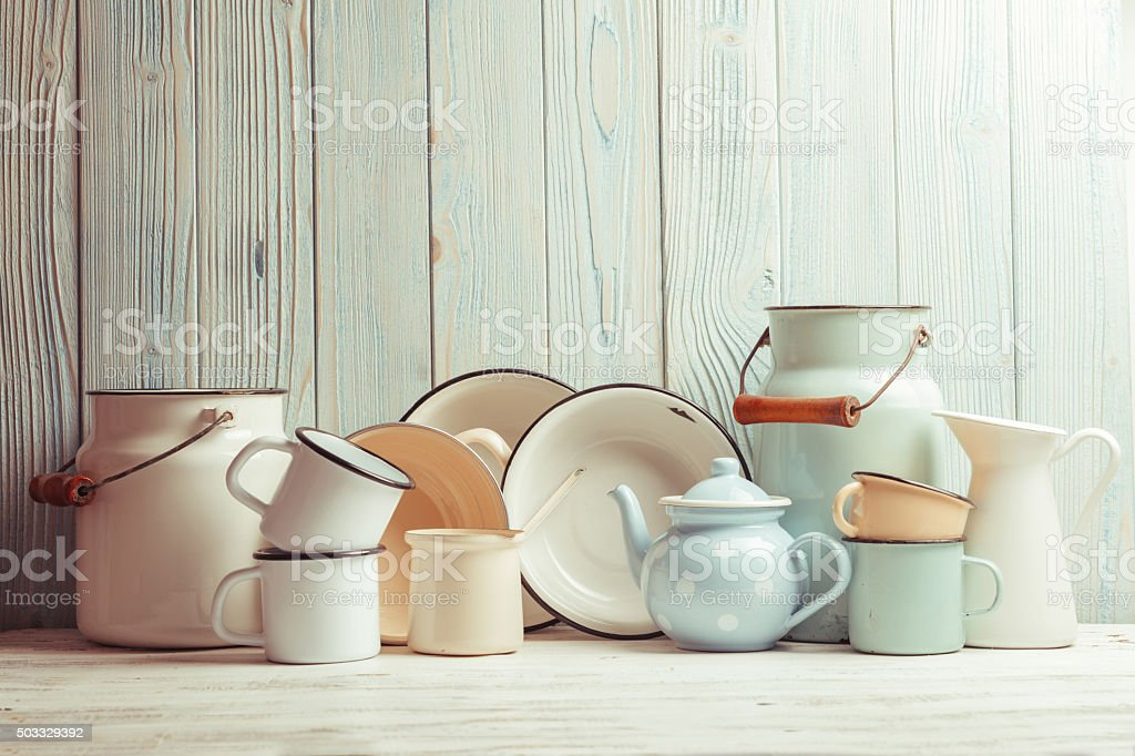 Enamelware still life stock photo