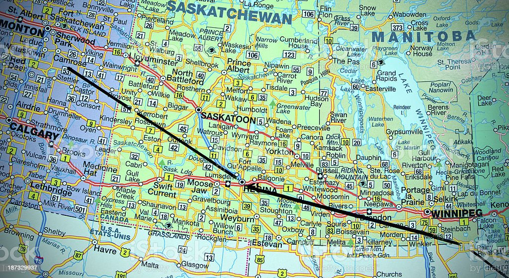 Enbridge Pipeline On The Map Stock Photo - Download Image