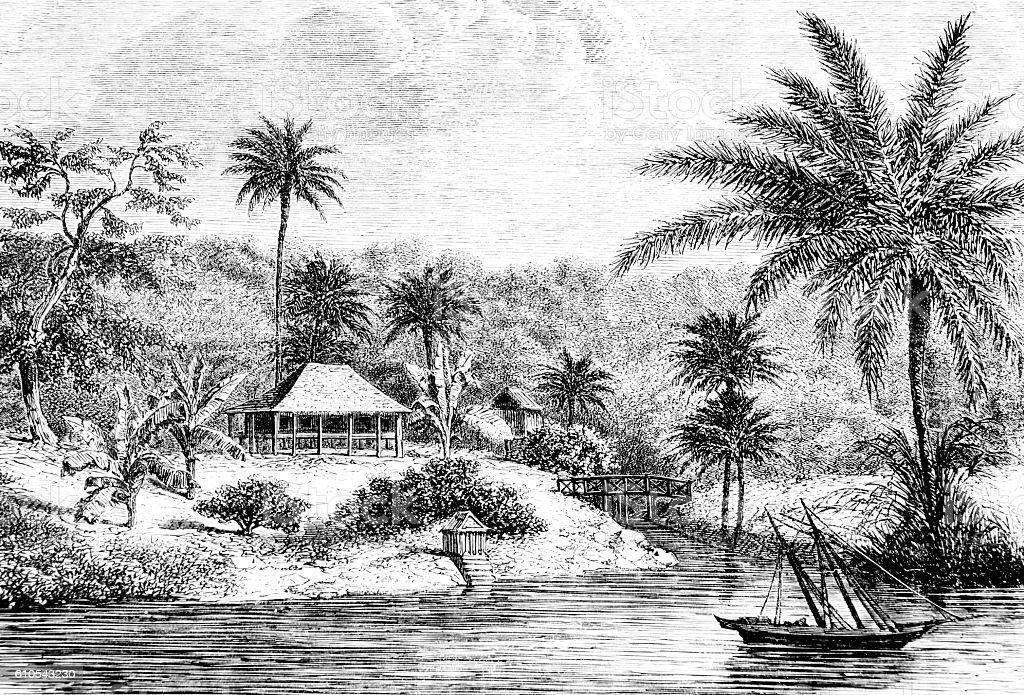 Encampment and boat Hand drawn illustration stock photo