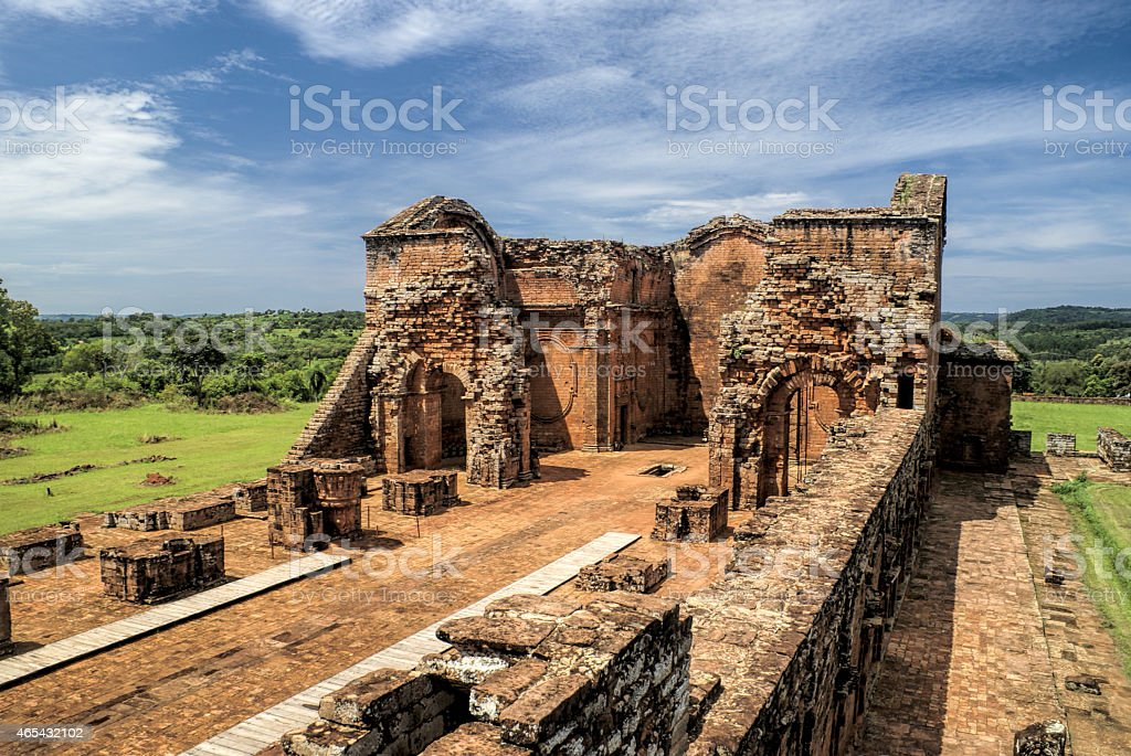 Encarnacion and jesuit ruins in Paraguay stock photo