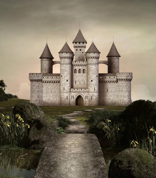 enchanted castle in a setting sun scenery - castle imagens e fotografias de stock