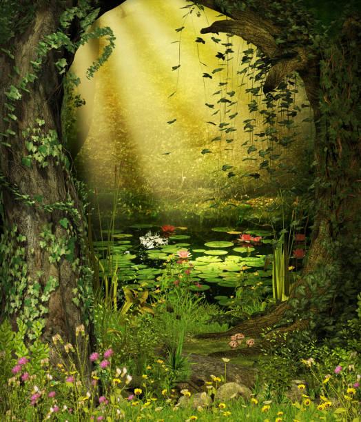 verzauberte märchen wald teich - märchenillustrationen stock-fotos und bilder