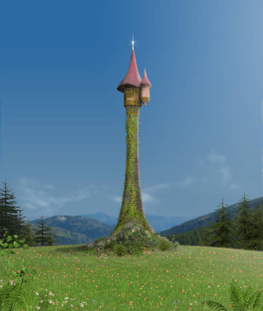 Enchanted Rapunzel Tower in Forest stock photo