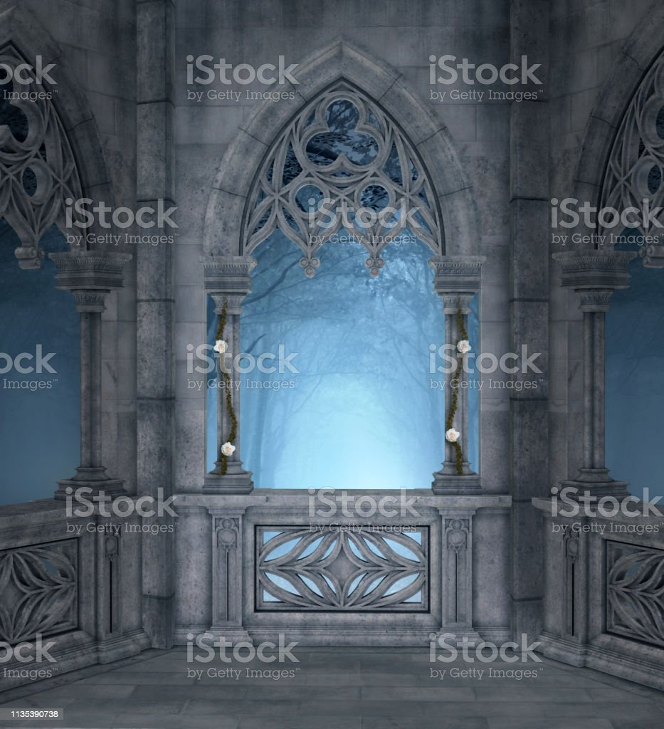 Terraza Encantada En La Noche Azul Foto De Stock Y Más Banco
