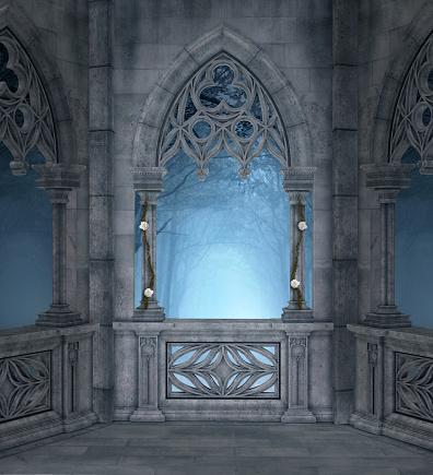 Romantic terrace background – 3D illustration