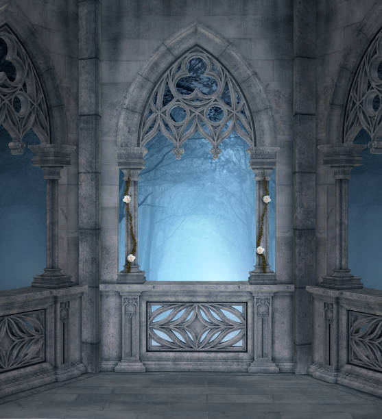 enchanted terrace in the blue night - gothic style stock pictures, royalty-free photos & images