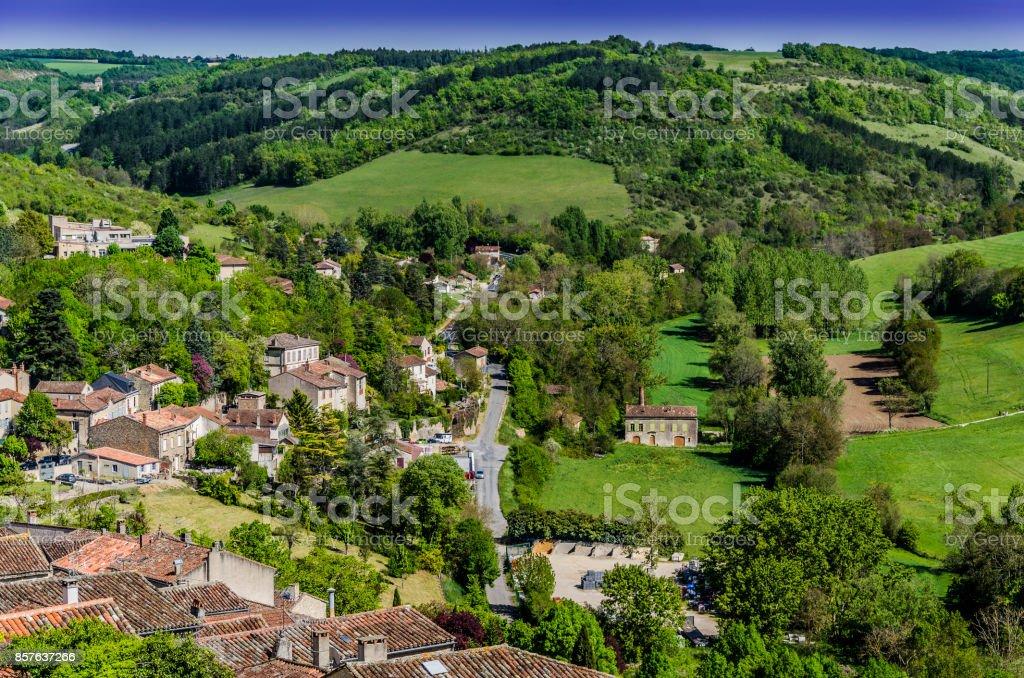 Enchanted valley near village of  San Cirq Lapopie stock photo