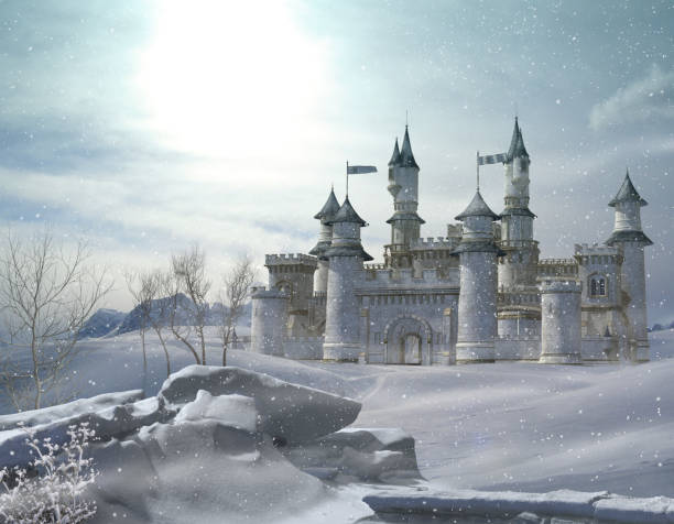 enchanted winter fairytale princess castle - castle stock photos and pictures