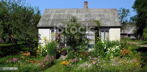 The most adorable tiny house surrounded by planted flowers in rural Lithuania