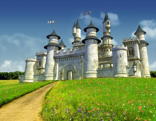castelo de princesa de conto de fadas encantador - castelo - fotografias e filmes do acervo