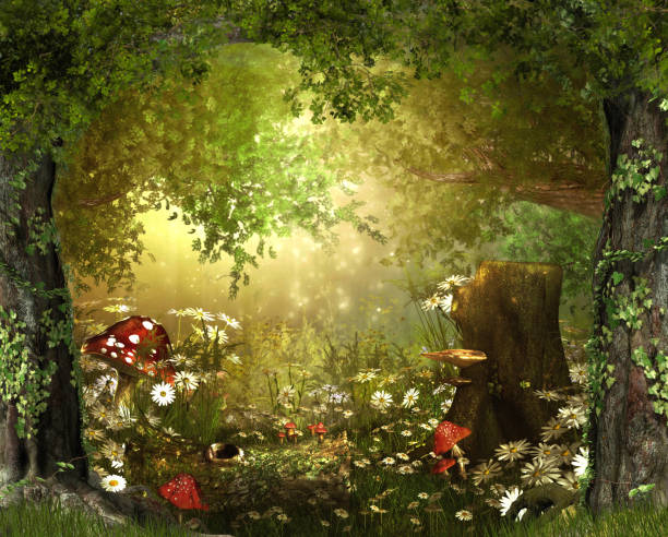 Enchanting Lush ,Fairy Tale Woodland Beautiful enchanting fairy tale lush woodland, 3d render dreamlike stock pictures, royalty-free photos & images