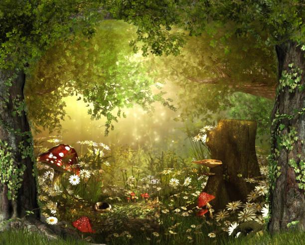 zauberhafte lush, märchen woodland - märchenillustrationen stock-fotos und bilder