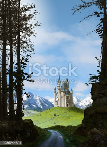 View from an enchanting forest over to a magical fairy tale princess castle surrounded by snow covered mountains, 3d render