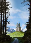 Enchanting magic princess fairy tale castle in the mountains