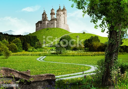 istock Enchanting old fairytale castle on a top of a hill 1215706874