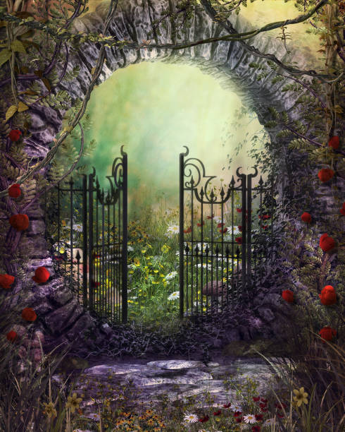 Enchanting Old Garden Gate with Ivy and Flowers stock photo